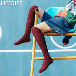 LIFEDIFF - Cable  Knit Over-The-Knee Socks