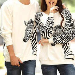 Igsoo - Couple Long-Sleeve Zebra Print T-Shirt