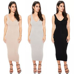 Hotprint - Deep V Back Sleeveless Midi Dress