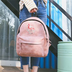 AIQER - Flamingo Print Faux Leather Backpack