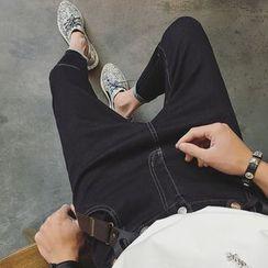 JUN.LEE - Cropped Suspender Jeans