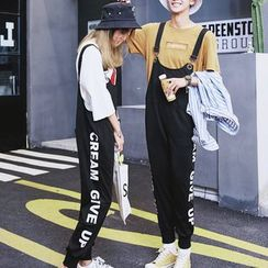 Bay Go Mall - Couple Matching Lettering Jumper Pants