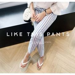 Miamasvin - Pocket-Side Pinstriped Tapered Pants
