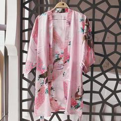 chuu - Kimono-Sleeve Bird Print Robe with Sash