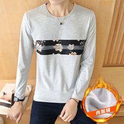 Breeson - Floral Print Fleece Lined Long-Sleeve T-Shirt