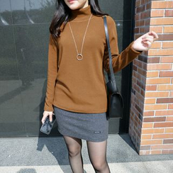 CLICK - High-Neck Knit Top