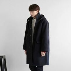 Seoul Homme - Wool Blend Single-Breasted Hooded Coat