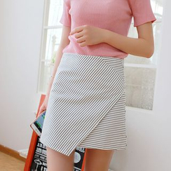 IndiGirl - Striped Layered Pencil Skirt