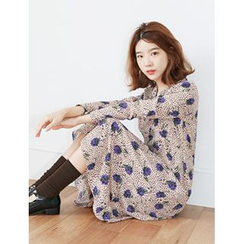 FROMBEGINNING - Tie-Neck Floral A-Line Long Dress