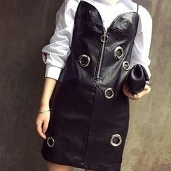 LRZ - Set: Faux Leather Strap Dress + Long-Sleeve Blouse