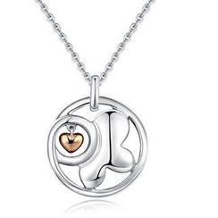 Bling Bling - Bling Bling Platinum Plated 925 Silver Butterfly with Dangle Heart Necklace (16')
