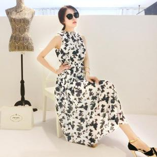 Elegant Queen - Sleeveless Floral Print Midi Dress