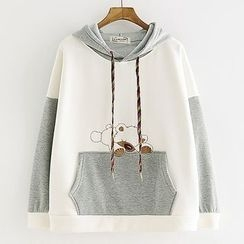 Suzette - Bear Embroidered Hoodie