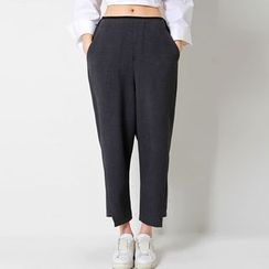 FASHION DIVA - Cutout-Hem Baggy-Fit Pants