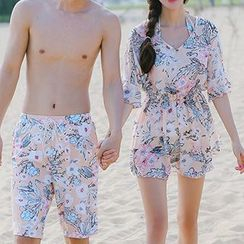 DJ Design - Women Set: Floral Print Bikini + Cover-Up