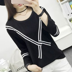 Cottony - Contrast Trim Long Sleeve T-Shirt