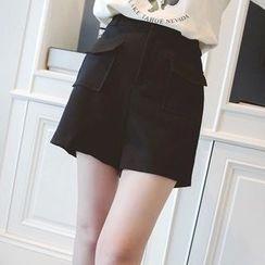 微米家 - 高腰翻盖口袋短裤