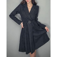 GUMZZI - Notch-Lapel Belted Dress