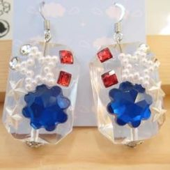 Fit-to-Kill - Blue flower shape diamond with little star earrings