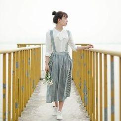 tete - Striped Suspender Skirt