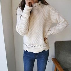 Hello sweety - Crew-Neck Pointelle-Knit Sweater