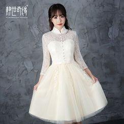 靜世奇緣 - 七分袖蕾絲禮服裙