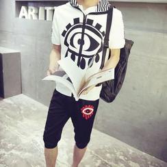 丹杰仕 - 套装: 连帽短袖印花夹克 + 运动短裤