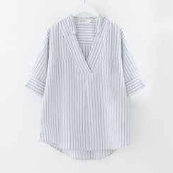 Meimei - Striped Half Placket Shirt