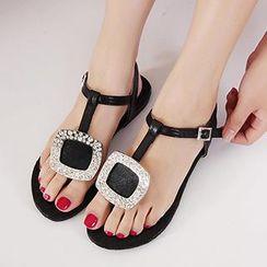 Mancienne - Rhinestone Thong Sandals