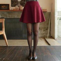 CLICK - Wool Blend A-Line Mini Skirt