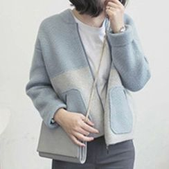 FR - Color Block Zip Up Cardigan