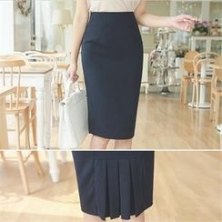 ode' - Pleated-Back Pencil Skirt