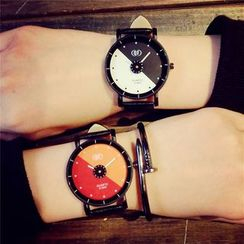 InShop Watches - Color-Block Faux-Leather Strap Watch