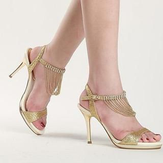77Queen - Fringed Ankle-Strap Heel Sandals