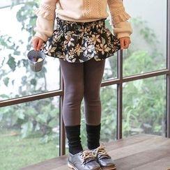 Cuckoo - Kids Floral Print Inset Leggings