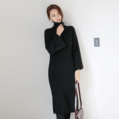 WITH IPUN - Turtleneck Rib-Knit Dress