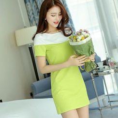 Bornite - Color Block Short-Sleeve Sheath Dress