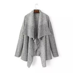Chicsense - Wide-Collar Cable Knit Cardigan