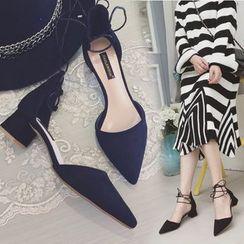 QQ Trend - 系带尖头高跟鞋