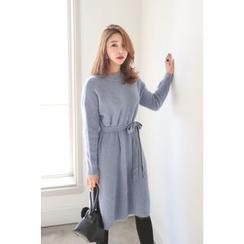 PPGIRL - Round-Neck Wool Blend Dress With Sash