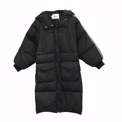 A7 SEVEN - Contrast Trim Hooded Thick Padded Coat