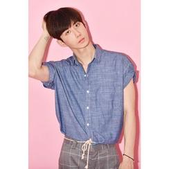 Ohkkage - Short-Sleeve Denim Shirt