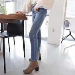 QNIGIRLS - Washed Straight-Cut Jeans