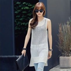 REDOPIN - Sleeveless Sheer Rib Knit Top