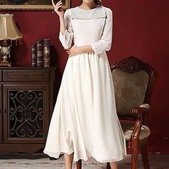 Rebecca - Wide Collar Long-Sleeve Maxi Dress