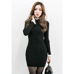 INSTYLEFIT - Mock-Neck Frill-Trim Bodycon Knit Dress
