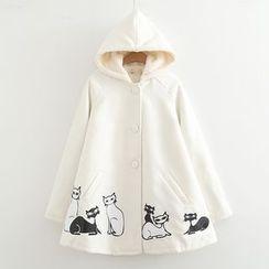MAOMAO - Cat Print Hooded Single-Breasted Coat
