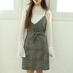 Dodostyle - Wool Blend Glen Check V-Neck Sleeveless Dress