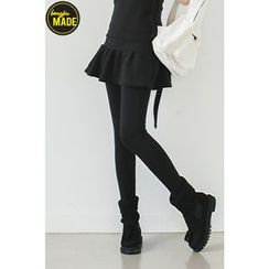 Bongjashop - Inset Skirt Brushed-Fleece Leggings