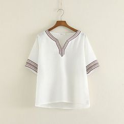 Mushi - Short-Sleeve Patterned T-Shirt